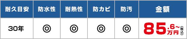 耐久目安:30年、耐水性・耐熱性・防カビ・防汚・69.3万円~