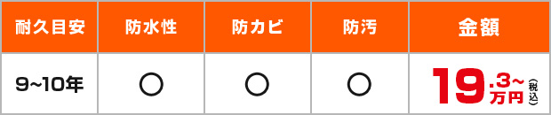 耐久目安:9~10年、耐水性・防カビ・防汚・17.5万円~