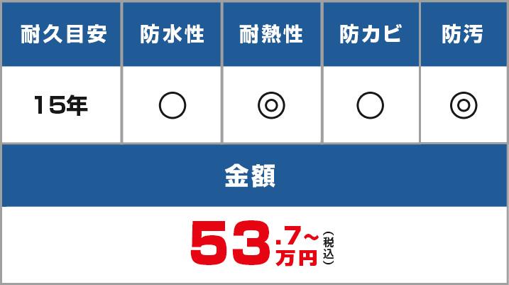 耐久目安:15年、耐水性・耐熱性・防カビ・防汚・50.8万円~
